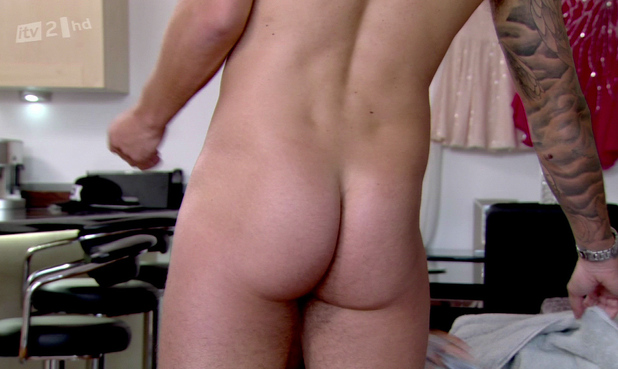 Mario Falcone appears naked on ' The Only Way Is Essex ' as he gets measured for his sculpture. Shown on ITV2 HD