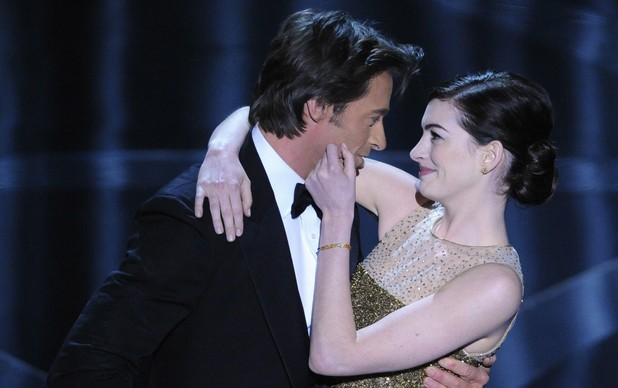 Hugh Jackman performs a skit with actress Anne Hathaway during the 81st Academy Awards 2009