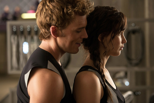 'The Hunger Games: Catching Fire' still: Sam Claflin and Jennifer Lawrence