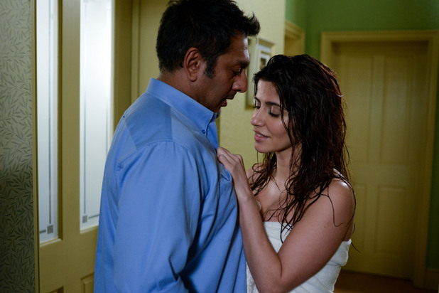 Masood is shocked to find Ayesha in just a towel wanting his attention.