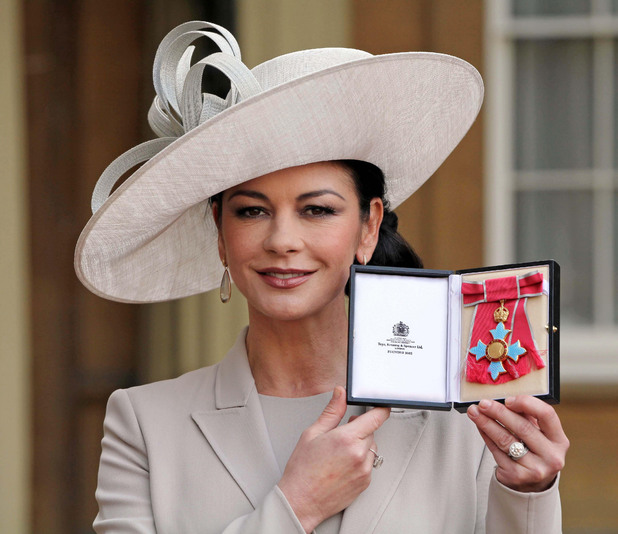 Catherine Zeta Jones at her CBE investiture, February 2011