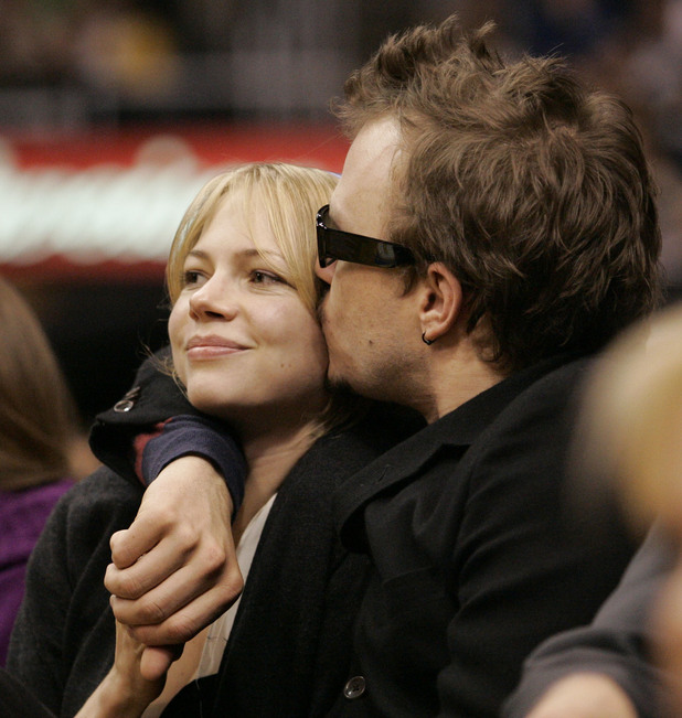 Michelle Williams and Heath Ledger at an LA Lakers game in March 2006