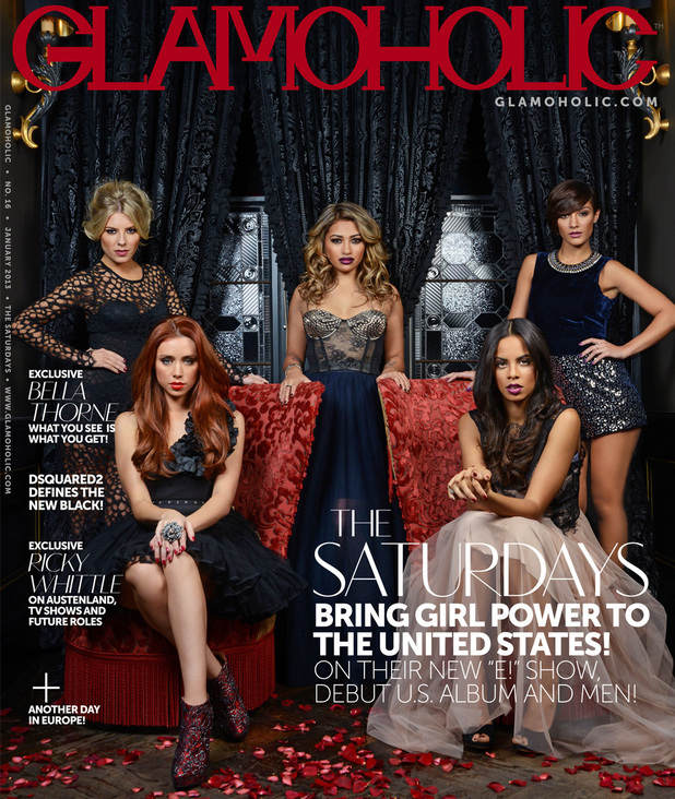 The Saturdays in their first US cover shoot for 'Glamoholic'