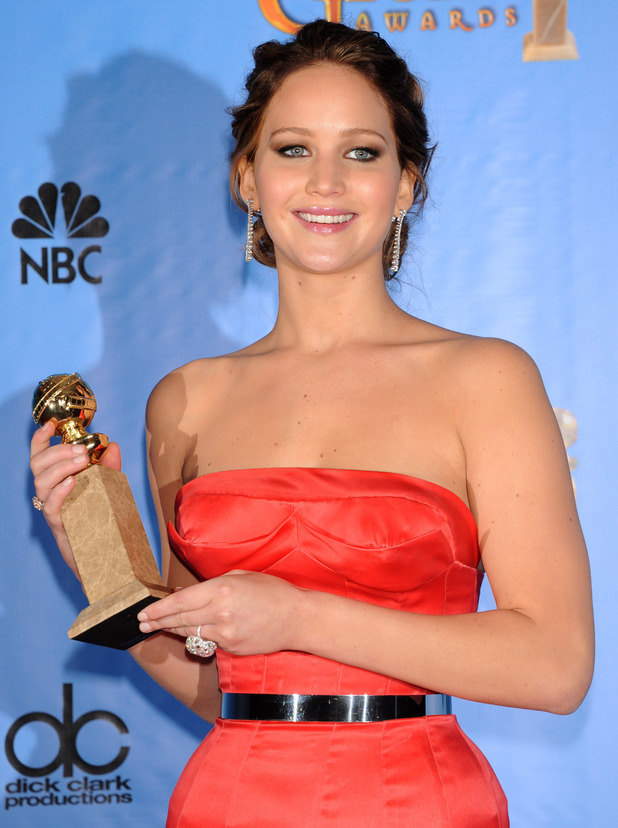 Jennifer Lawrence in the press room at the 70th Annual Golden Globe Awards held at the Beverly Hilton Hotel, Beverly Hills, California on January 13, 2013.