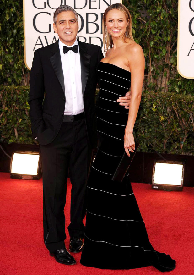 George Clooney and Stacy Keibler arriving at the 70th Annual Golden Globe Awards 2013 in Los Angeles 