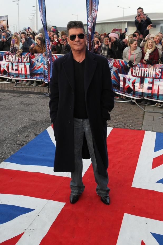 Simon Cowell arriving at the first round of auditions in Cardiff for Britain's Got Talent 2013