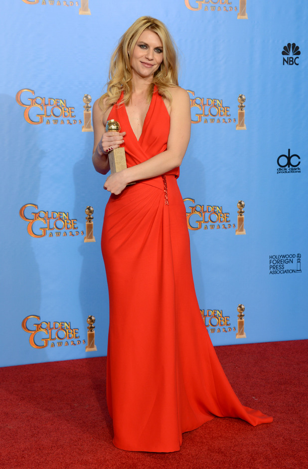 "Claire Danes poses with the award for best performance by an actress in a television series - drama for ""Homeland"" in the press room at the 70th Annual Golden Globe Awards"