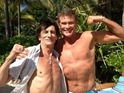 Knight Rider star gatecrashes Ronnie Wood's honeymoon on Necker Island.