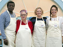 A first look at the celebs in the kitchen with Paul Hollywood and Mary Berry.