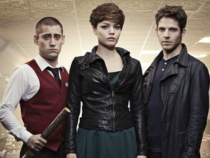 Tom (Michael Socha), Alex (KATE BRACKEN), Hal (Damien Molony) in Being Human