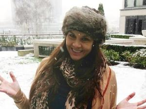 A pregnant Imogen Thomas out in the snow