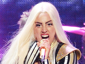 Singer Lady Gaga performs with The Rolling Stones at the Prudential Center in Newark, NJ on Saturday, Dec. 15, 2012.