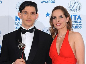 Colin Morgan with his Drama Male Performance Award and presenter Darcey Bussell in the press room at the 2013 National Television Awards at the O2 Arena, London.