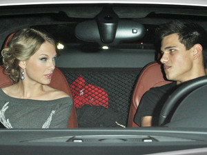 Taylor Swift and Taylor Lautner leaving Alice & Olivia boutique on Robertson Blvd after doing some shopping. Los Angeles, California