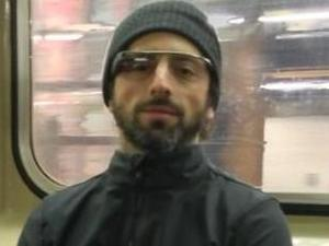 Sergey Brin shows off Google Glass in public