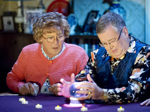 Mrs Brown&#39;s Boys - series 3 episode 4: Agnes Brown (Brendan O&#39;Carroll) consults a psychic (Joe Duffy)