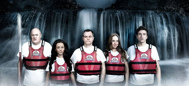 Comic Relief Hell and High Water challenge: Dara O'Briain, Chelsee Healy, Jack Dee, Mel C and Greg James
