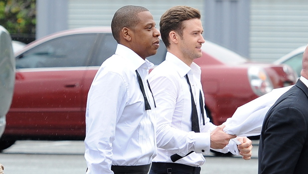 Justin Timberlake and Jay-Z seen fooling around on the set of their new music video &#39;Suit and Tie&#39;Featuring: Justin Timberlake,Jay-Z,Shawn Carter