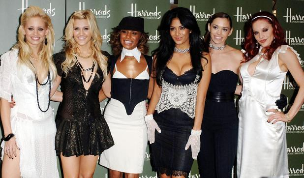 Kimberly Wyatt, Ashley Roberts, Melody Thornton, Nicole Scherzinger, Jessica Sutta, Carmit Bachar The Pussycat Dolls arriving for the Harrods Summer Sale London