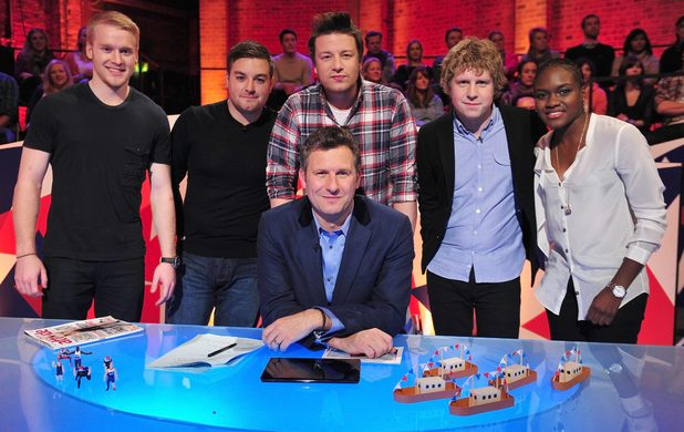 The Last Leg - Johnny Peacock, Alex Brooker, Jamie Oliver, Adam Hills, Josh Widdecombe and Nicola Adams