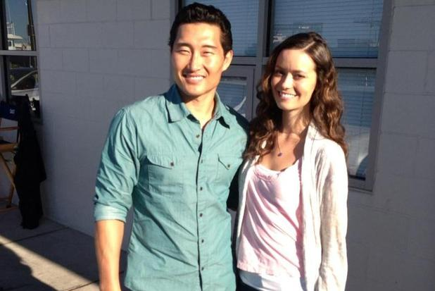 Daniel Dae Kim and Summer Glau on the set of Hawaii Five-0