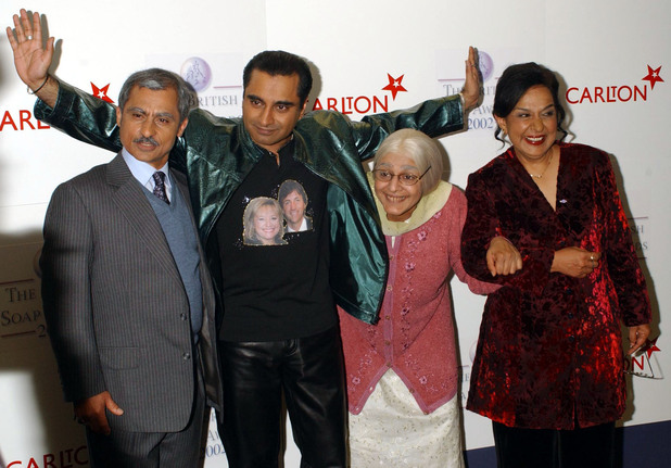 The cast from The Kumars at No. 42 at the fourth annual British Soap Awards at BBC Television Centre in London (May 2002)
