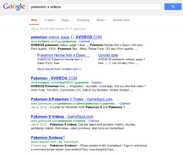 Google search results for 'Pokemon X Videos'