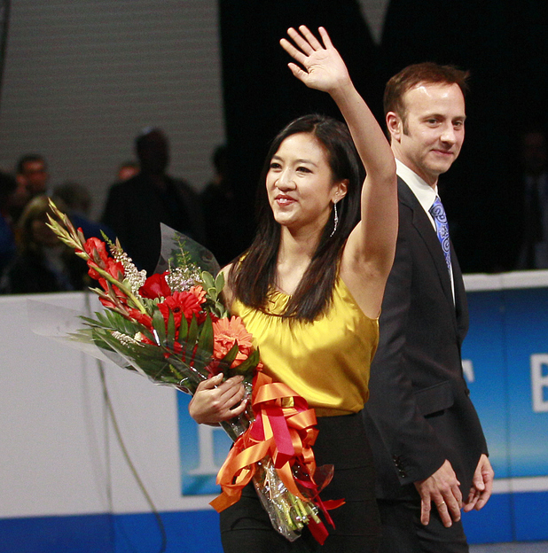 Michelle Kwan (with Brian Boitano in the background) is inducted into the US Figure Skating Hall of Fame, January 2012