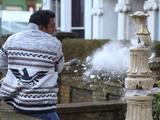 Masood smashes up the water feature.