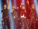 The boyband join JLS and Alexandra Burke at the Sony subsidiary.