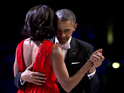 President Obama and First Lady dance to 'Let's Stay Together' and share a kiss.