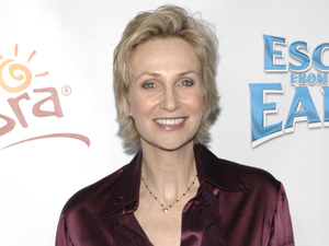 "Jane Lynch arrives at the LA premiere of ""Escape from Planet Earth""."