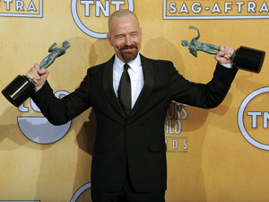 Bryan Cranston with his SAG Awards for 'Breaking Bad' and 'Argo'