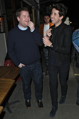 Harry Styles out celebrating his 19th Birthday at La Bodega Negra with James Corden and Nick Grimshaw before heading for the Groucho Club. Featuring: James Corden,Nick Grimshaw Where: London, United Kingdom