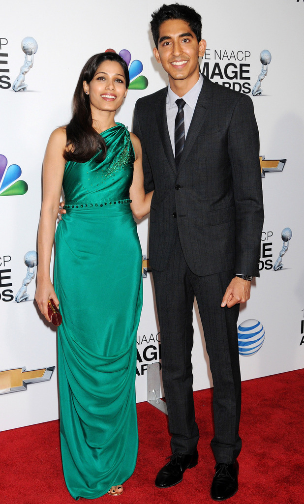 Freida Pinto and Dev Patel attend the NAACP Image Awards.