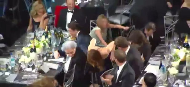 Jennifer Lawrence suffers a wardrobe malfunction at the Screen Actors Guild Awards 2013