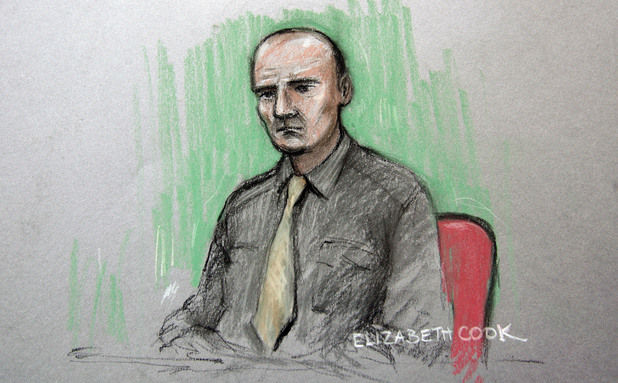 Court artist sketch by Elizabeth Cook of Tony McCluskie in the dock at the Old Bailey where he is accused of the murder of his sister, former EastEnders actress Gemma McCluskie