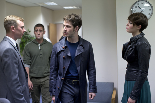 Being Human S05E01 - 'The Trinity': Mr Rook (STEVEN ROBERTSON), Tom (Michael Socha), Hal (Damien Molony), Alex (KATE BRACKEN)