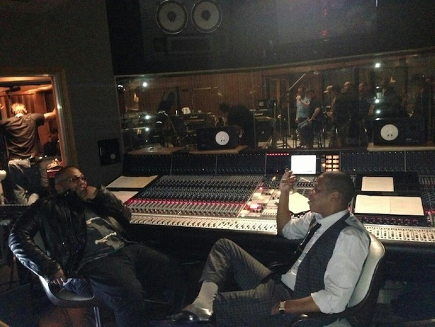 Timbaland and Jay-Z in the studio.