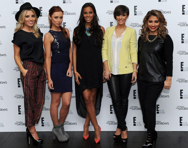 The Saturdays (left - right) Mollie King, Una Healy, Rochelle Humes, Frankie Sandford and Vanessa White as they launch their new TV programme Chasing The Saturdays at the Soho Hotel, London. Picture date: Wednesday January 23, 2013. Photo credit should read: Anthony Devlin/PA Wire