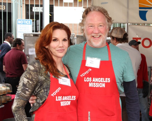 Melissa Gilbert, Timothy Busfield volunteer at Los Angeles Mission Christmas Eve For The Homeless, December 23, 2012