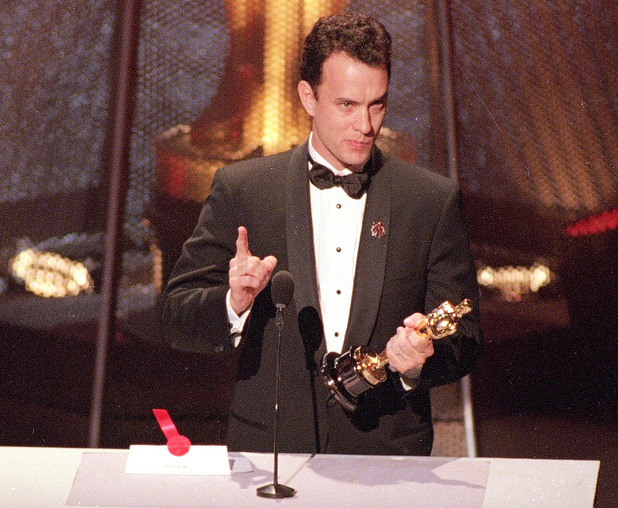Tom Hanks gives an emotional speech at the 66th Annual Academy Awards in Los Angeles on March 21, 1994.