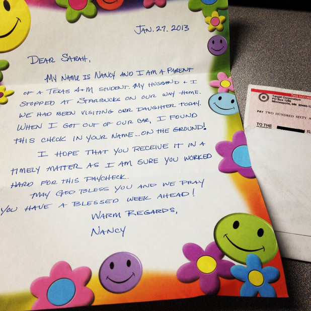 Paycheck returned with handwritten letter
