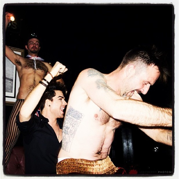 David Arquette gives Adam Lambert an early birthday lapdance at Bootsy Bellows - January 25, 2013