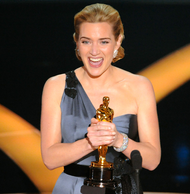 "British actress Kate Winslet accepts the Oscar for best actress for her work in ""The Reader"" during the 81st Academy Awards Sunday, Feb. 22, 2009, in the Hollywood section of Los Angeles."