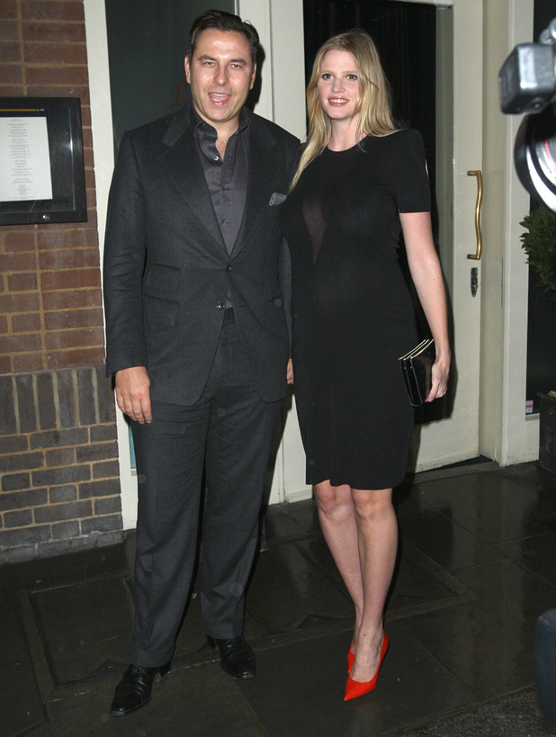 David Walliams and Lara Stone leaving La Petite Maison