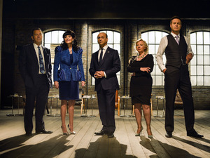 Dragons' Den cast for series 9 and 10: Duncan Bannatyne, Hilary Devey, Theo Paphitis, Deborah Meaden, Peter Jones