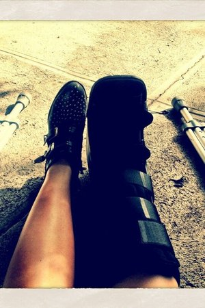 Demi Lovato shows off her crutches after a fall