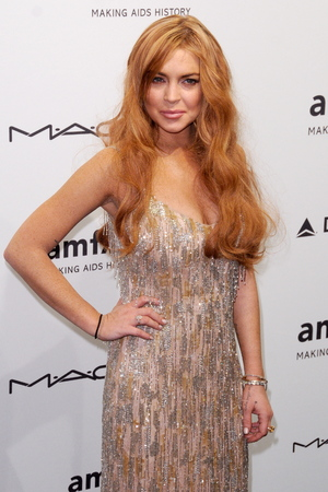 Celebrities attend the amfAR gala held at Cipriani Wall Street Featuring: Lindsay Lohan Where: New York City , New York , United States