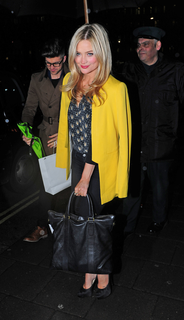 MTV presenter, Laura Whitmore leaves a party celebrating the new partnership between Johnnie Walker Blue Label at Annabels